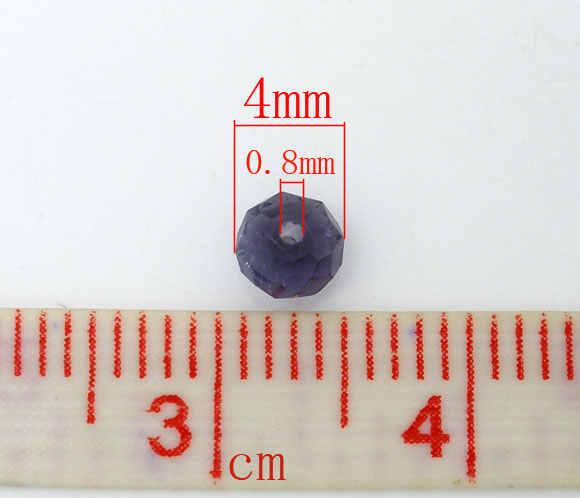 """DoreenBeads ลูกปัดแก้วเม็ดกลมกลมสีม่วง Faceted โปร่งใสประมาณ 4 มม. (1/8 """") Dia, หลุม: ประมาณ 0.8 มม., 25 ชิ้น"""