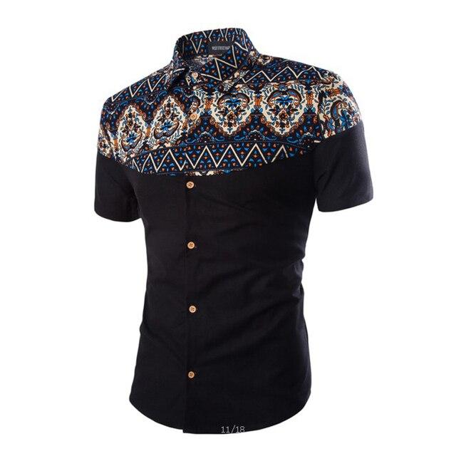 Novo nacional de design dos homens camisas de vestido ocasional de manga curta camisa chemise sociais homme 3XL 4XL CCL67