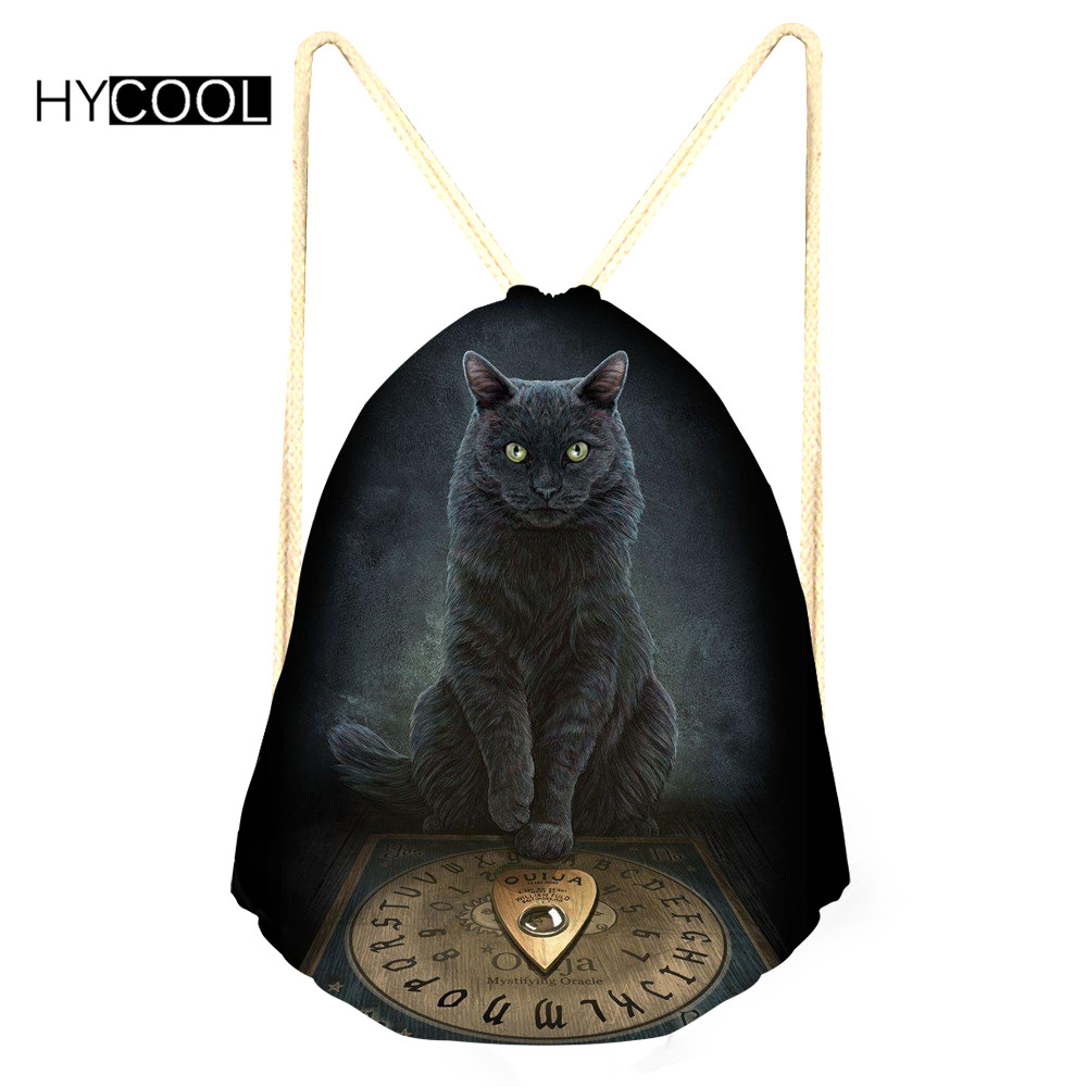 06f5a40a66f3 HYCOOL Girls Fitness Bag For Outdoor Sports Black Cats Printed Gym Bags  Women Training Backpack Yoga Shoes Bags Breathable Pack-in Gym Bags from  Sports ...