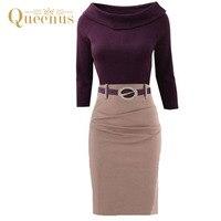 Queenus Women Bodycon Dress 2017 Spring Autumn Nine Quarter Sleeve Waist Buckle O Neck Knee Length