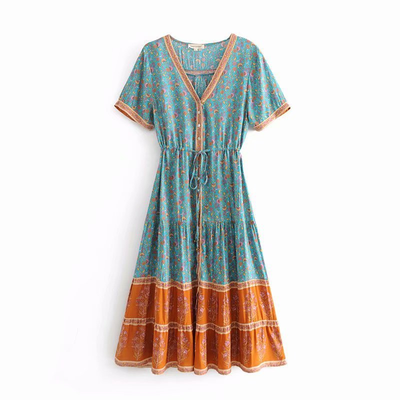 0cc8a7cfe3bb3 BOHOFREE Jasmine Floral Print Long Dress V Neck Short Sleeve Button Down  Maxi Vestidos Women Beach Dress Tunic Waist Dress