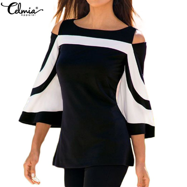 711602c088830 Celmia Bell Sleeve Cold Shoulder Tops Women Blouse 2018 Autumn Plus Size  Black White Colorblock Blusas Femininas Office Clothes