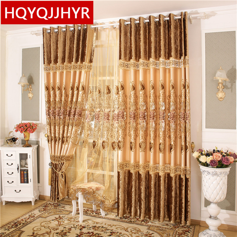 Chinese Deluxe Royal Queen Flower Embroidery Large Curtains For The Bedroom Or Living Room