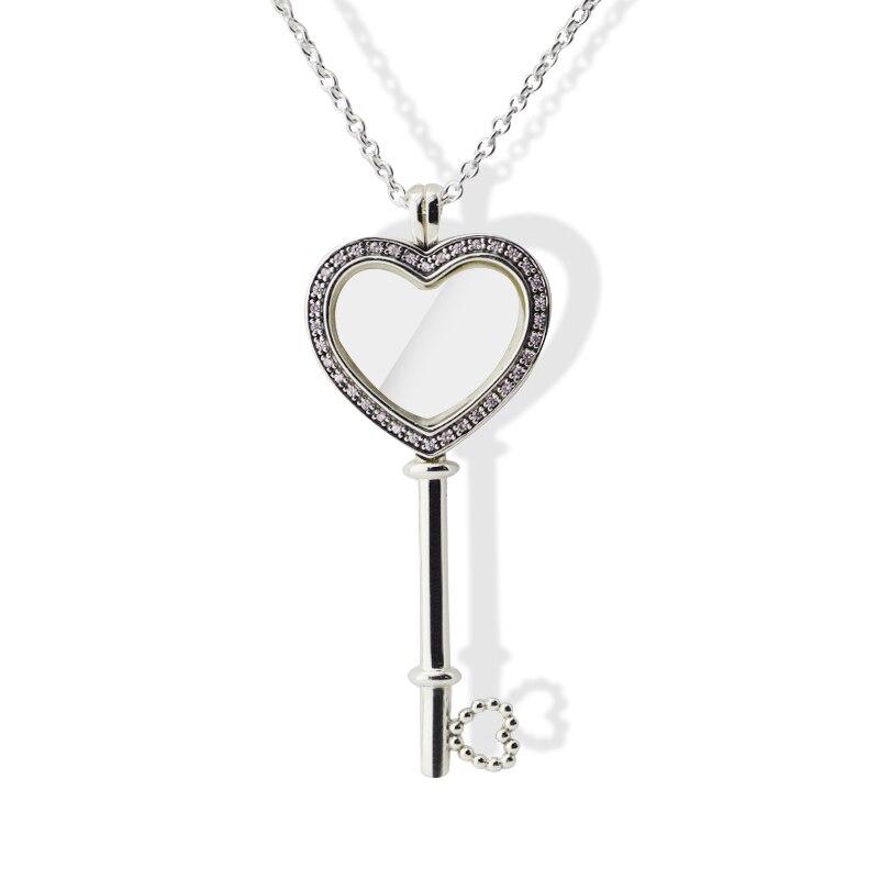 Original 925 Sterling Silver Pendants Floating Pink Locket Big Heart Key Necklace For Women Jewelry DIY Making