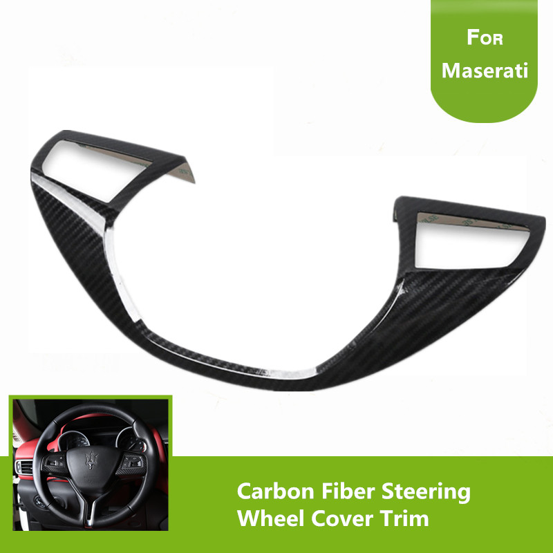 Carbon Fiber Look Steering Wheel Cover Trim Decoration For Maserati Levante 2016 2017 Ghibli 2014 2015