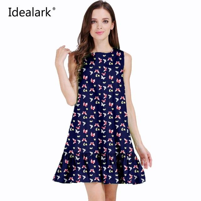 Idealark 100% хлопок Украины Новый 2017 О-образным вырезом летнее женское платье без рукавов Повседневное Лето Платья для женщин WC0588