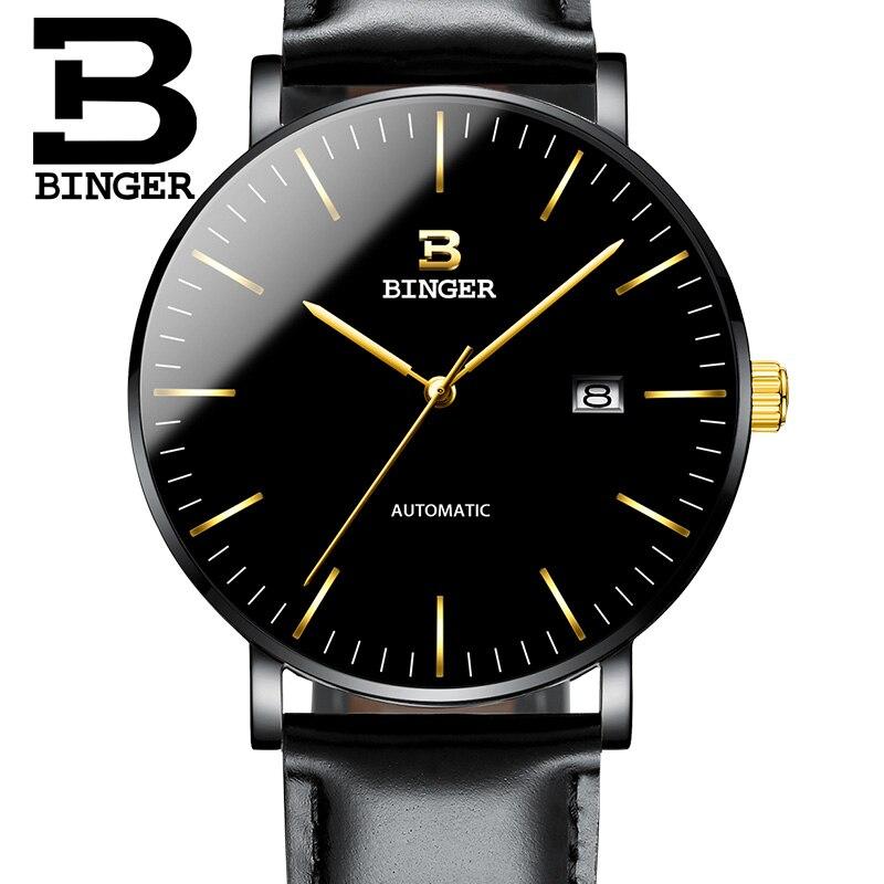 Suisse BINGER montres hommes mode Relogio Masculino étanche automatique Seiko mouvement mécanique montre bracelet reloj hombre-in Montres mécaniques from Montres    1
