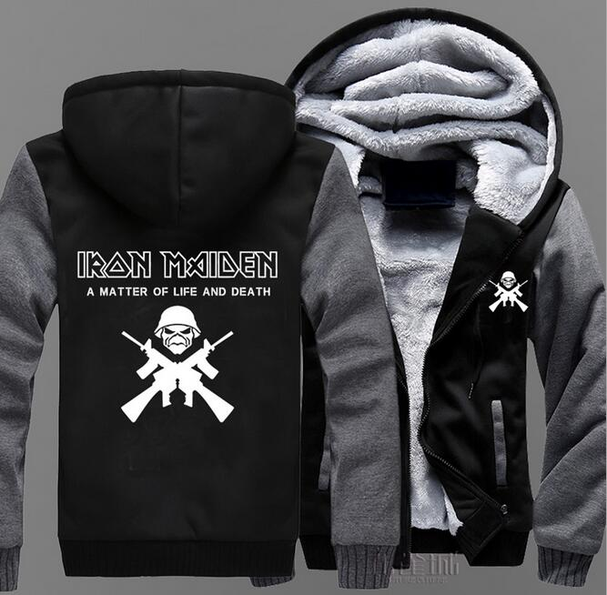 Winter Jacket Iron Maiden black blue costume hoodie Anime Hooded Zipper For Mens womens cardigan fleece thick slim Sweatshirt