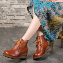 HUIZUMEI Winter boots women shoes snow ankle for platform womens genuine leather boots.