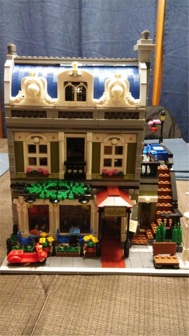 City Street Parisian Restaurant Model Building Kit Assembling Blocks Bricks Toy Comaptible Lepins Educational Funny Gift
