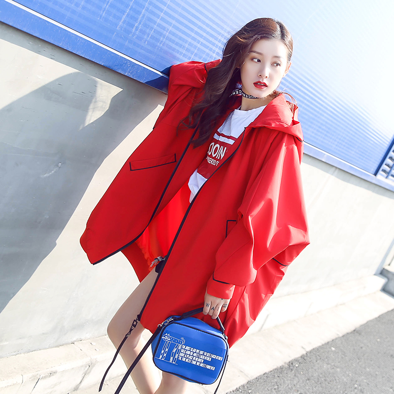 2017 Long Fashion Nouveau Jeunes Manteau Lâche Occasionnel Femmes Printemps Marque Rouge Capuche Veste Avec Style Lady rPrqYwdB