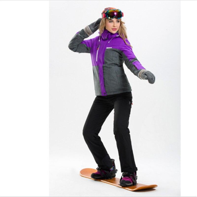 Prix pour Nouvelle Coupe-Vent famale Ski Costume Vêtements Chauds et Imperméables Ski Veste + Pantalon Vêtements de Plein Air Randonnée Camping Équitation Double plaque Costume ensemble