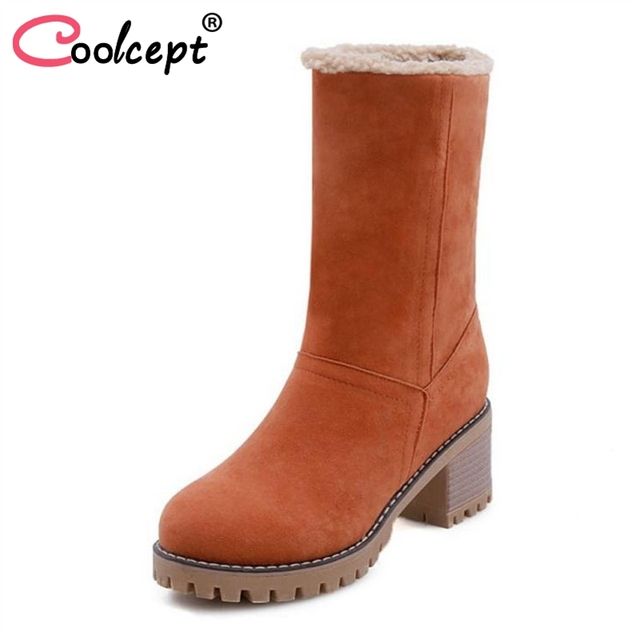 Coolcept 5 Colors Office Lady High Heel Boots Warm Fur Snow Boots Solid Color Winter Thick Heel Shoes Women Footwear Size 32-43