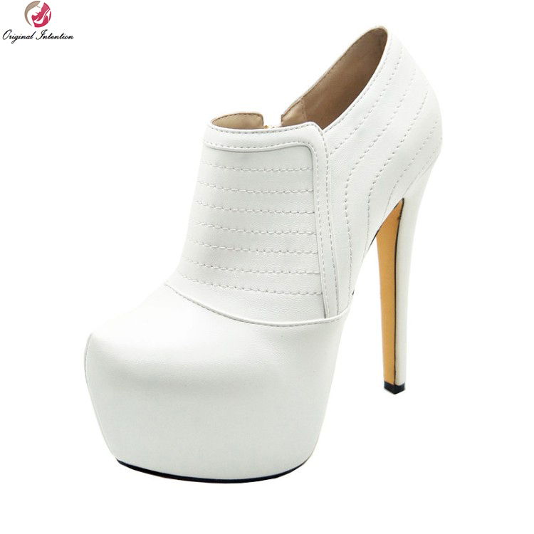 Original Intention New Fashion Women Boots Stylish Round Toe Thin High Heels Boots Elegant White Shoes Woman Plus US Size 4-10.5 original intention elegant women ankle boots rivets round toe thin high heels boots fashion black shoes woman plus us size 4 15