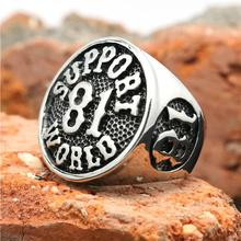 2015 Cool 316L Stainless Steel Silver Biker 81 Support World Ring Mens Motorcycle Biker 81 Ring