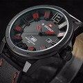 Naviforce mens relojes de primeras marcas de moda de lujo 3d dial deportes de los hombres de cuero relojes relogio masculino masculino reloj reloj