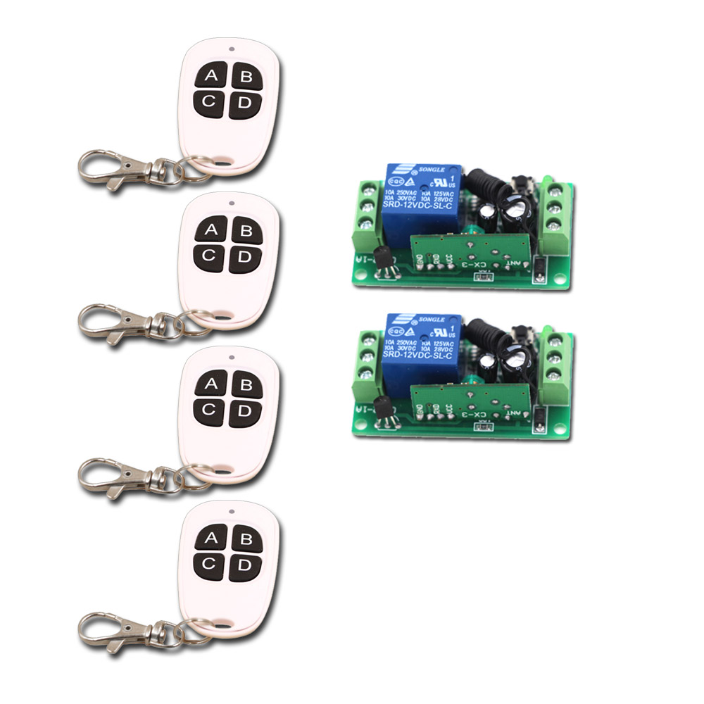 New 4Key 1CH RF Wireless Remote Control Switch System 4pcsTransmitter & 2pcs Receiver Relay Receiver with 4Buttons new restaurant equipment wireless buzzer calling system 25pcs table bell with 4 waiter pager receiver