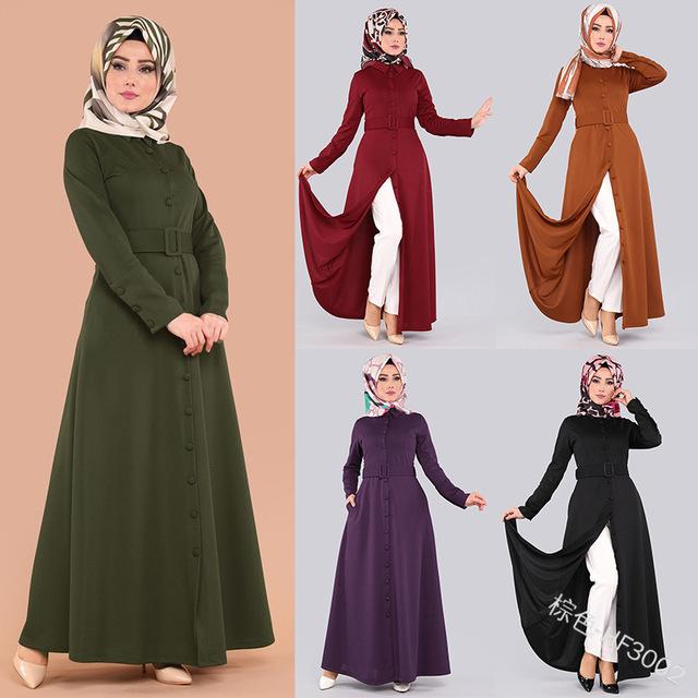2019 new summer and autumn elegant Turkish fashion style plus size long abaya S-2XL