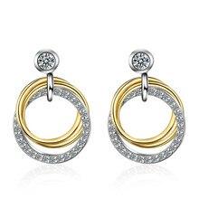 XIYANIKE – boucles d'oreilles en argent Sterling 925, Style coréen, Double boucle en cristal, créoles créatives, bijoux fins minimalistes, cadeau