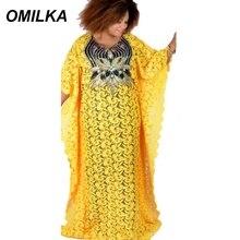 купить OMILKA Africa Dress 2019 Summer Women Cape Lace Long Sleeve V Neck Sequin Dress Hollow Out Club Long Maxi Evening Party Dress по цене 677.14 рублей