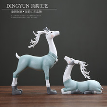 Nordic deer desk decoration creative cartoon figurine  miniature garden home decor accessories modern