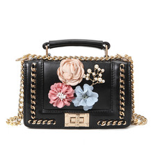 Fashion lady bag chain strap flower decoration pearl square shoulder PU leather small