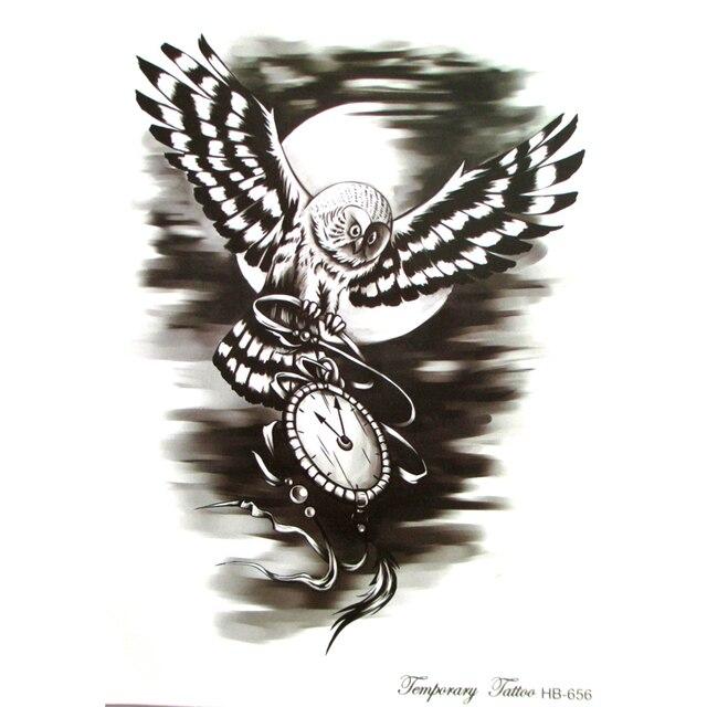 Temporaire Noir Temps Hibou Tatouage Peint A La Main Realiste Hibou