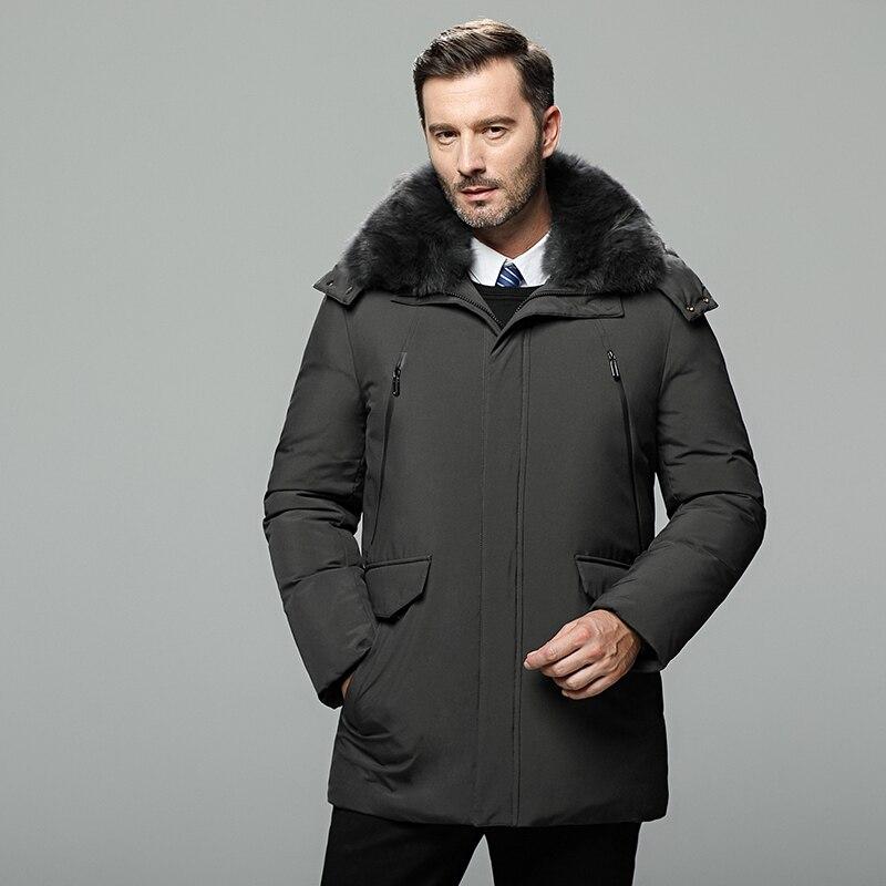 Abrigo largo mediano de piel para hombre chaqueta gruesa de invierno para hombre marca 90% chaqueta de plumón de pato blanco para hombre doudoune homme talla grande 5XL