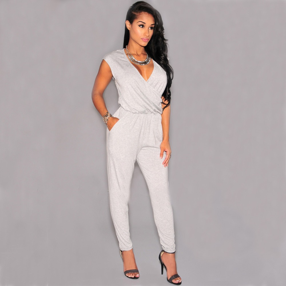 2015 Sexy Club Style Womens Bandage All White Jumpsuits And Rompers