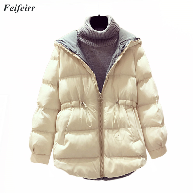 2018 new ladies fashion hooded coat winter Medium long section wadded casaco feminino inverno   parkas   women jacket outwear