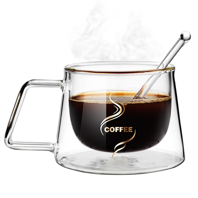 Heat Insulation Glass Coffee Mug, Double Wall Glass Coffee Tea Cups Drinkware Milk, 6.8oz/200ml Espresso Coffee Milk Latte Cup 2