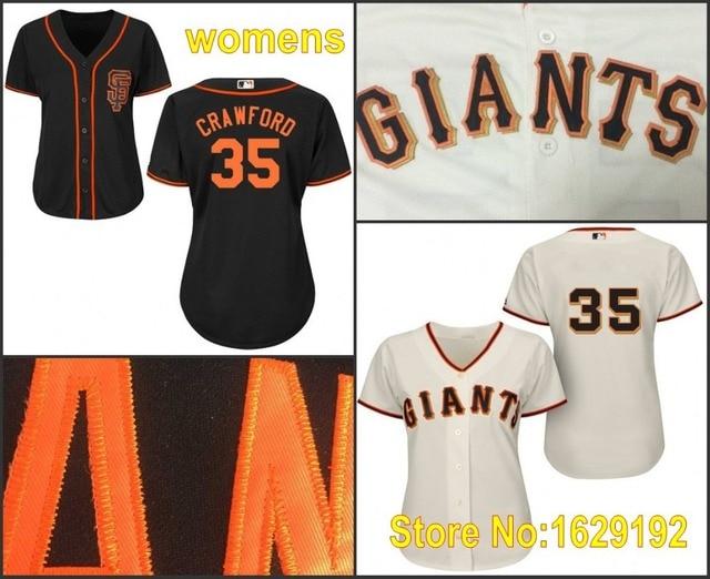 super popular 5f0ef f49bf US $33.88 |New Arrival Womens San Francisco Girl #35 Brandon Crawford  Authentic Black Cream SF Stitched Baseball Jerseys/Shirt Cheap-in Baseball  ...