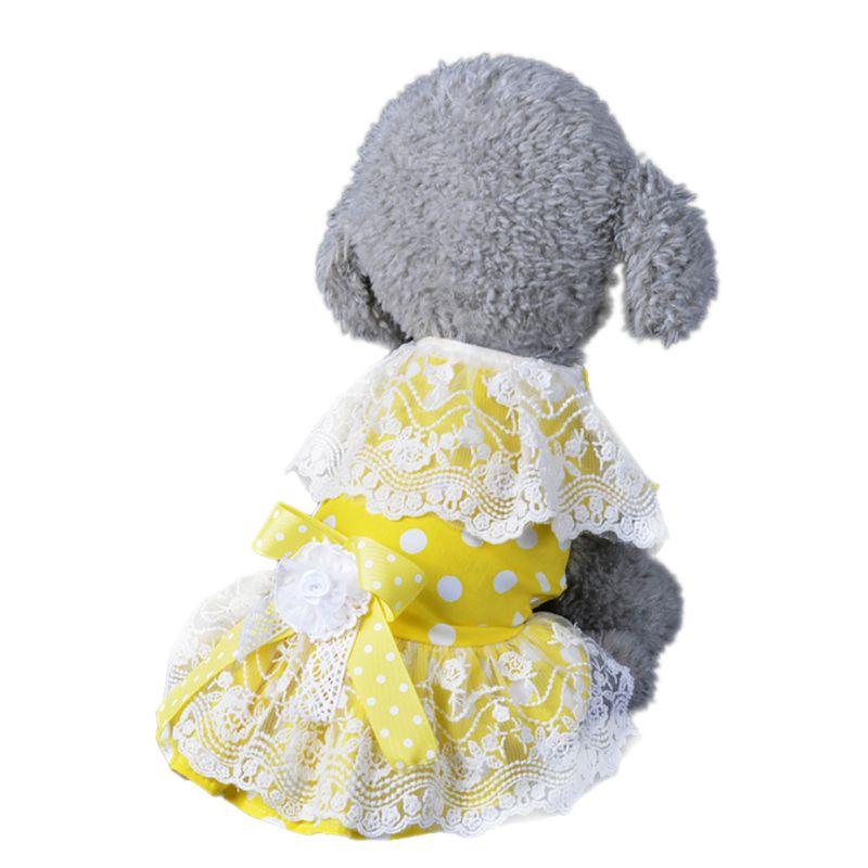 Summer Dress Pet Puppy Clothes XS-XL Cute Lace Yellow Princess Skirt Cat Dog