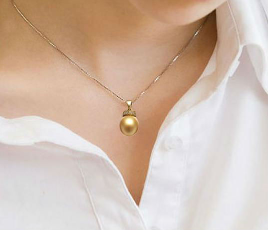 GVBORI South Sea Gold Pearl Necklace Pendant Crown With 18K