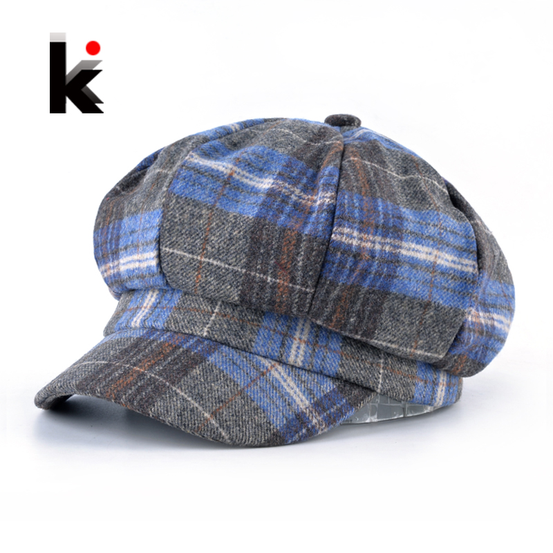 Women's Plaid Newsboy Caps Spring Autumn Fashion British Style Octagonal <font><b>Hats</b></font> For Girls Classic Berets Baseball Cap Female Boina