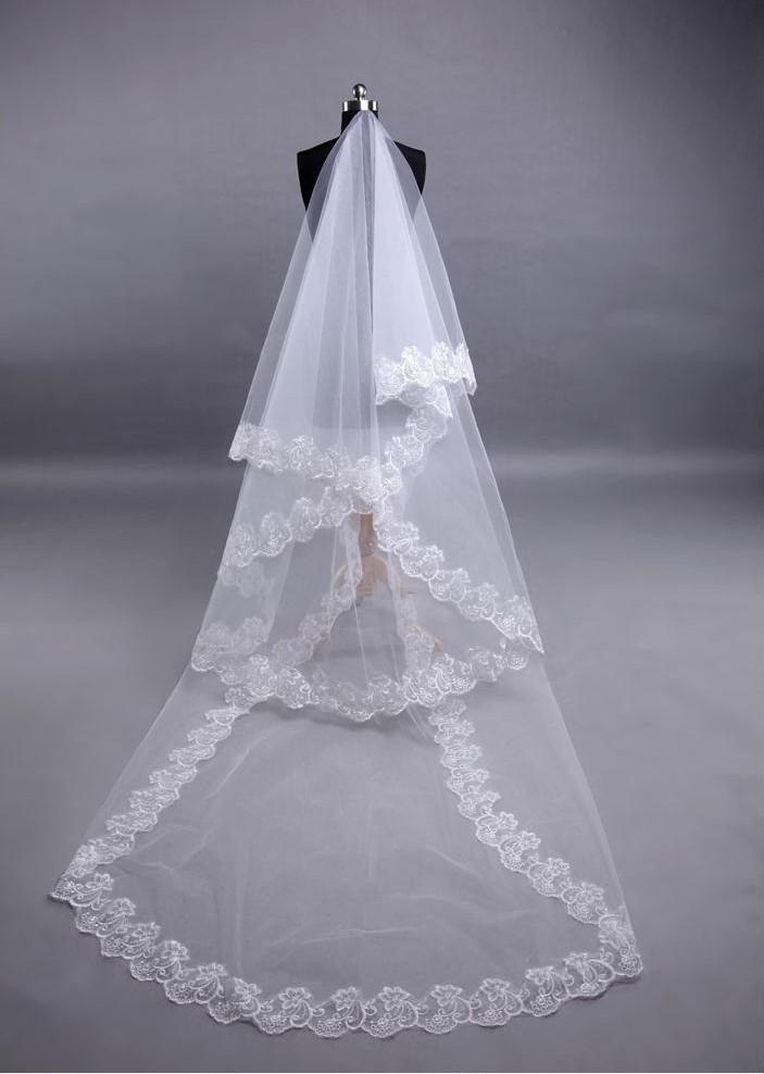 Long Lace Wedding Veil Veu De Noiva Longo Luxury 1 Layer Weddin Accessories Tulle Veil For Bride 2015 Cheap (2)