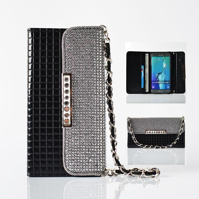 imágenes para Bolso de la Carpeta Del Diamante de Bling de lujo Caja Del Teléfono de Cuero para Samsung Galaxy S8 S8 Más Ranuras Para Tarjetas Bolso de Cadena Cubierta de Coque Fundas
