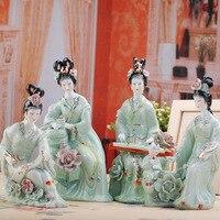 Древних яркие Jingdezhen Керамические классическая красота фарфор скульптуры украшения дома ремесел украшения Статуя