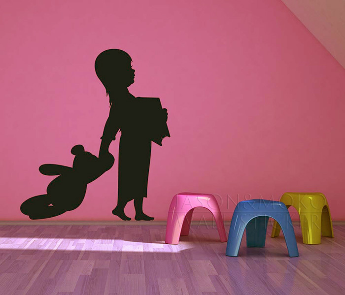 Story <font><b>Time</b></font> - <font><b>Girl</b></font> with <font><b>her</b></font> Teddy Bear and Book - Vinyl Wall Art Decal l, Vinyl wall Sticker for home decoration Free shipping