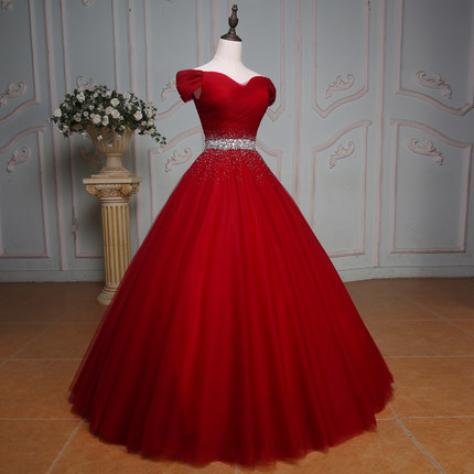 Chi Girls Burgundy Quinceanera Dresses Long Puffy Ball
