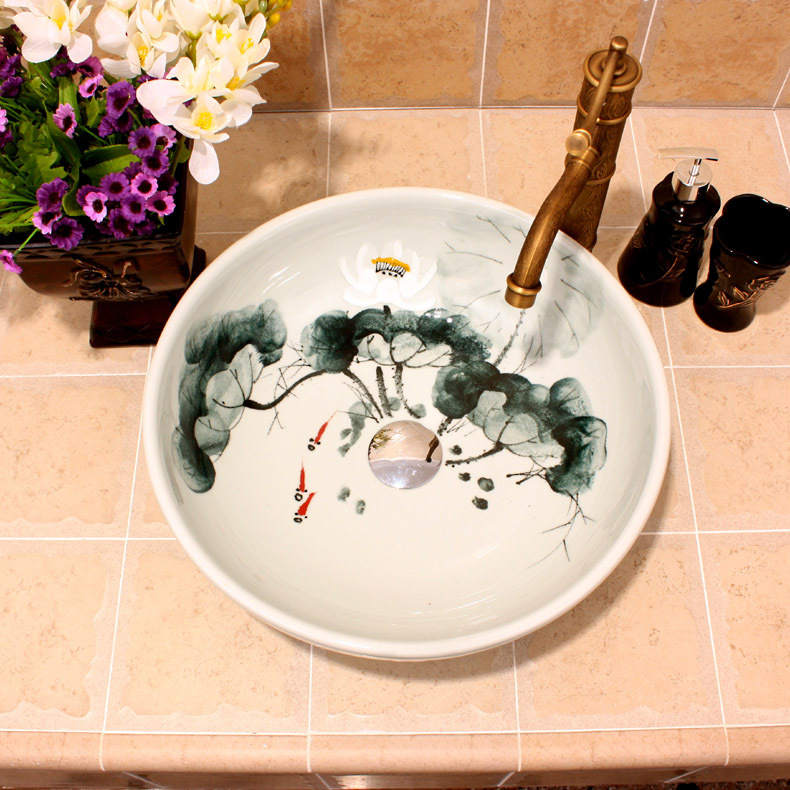 White Lotus Painting China Artistic Handmade Ceramic Bathroom Sinks Lavobo Round Counter top hand painted ceramic. Popular Hand Painted Sinks Buy Cheap Hand Painted Sinks lots from