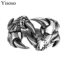 1pcs Titanium Ornaments Domineering personality metrosexual man Seventh giant wolf claw ring lattice Ural Male ring J006