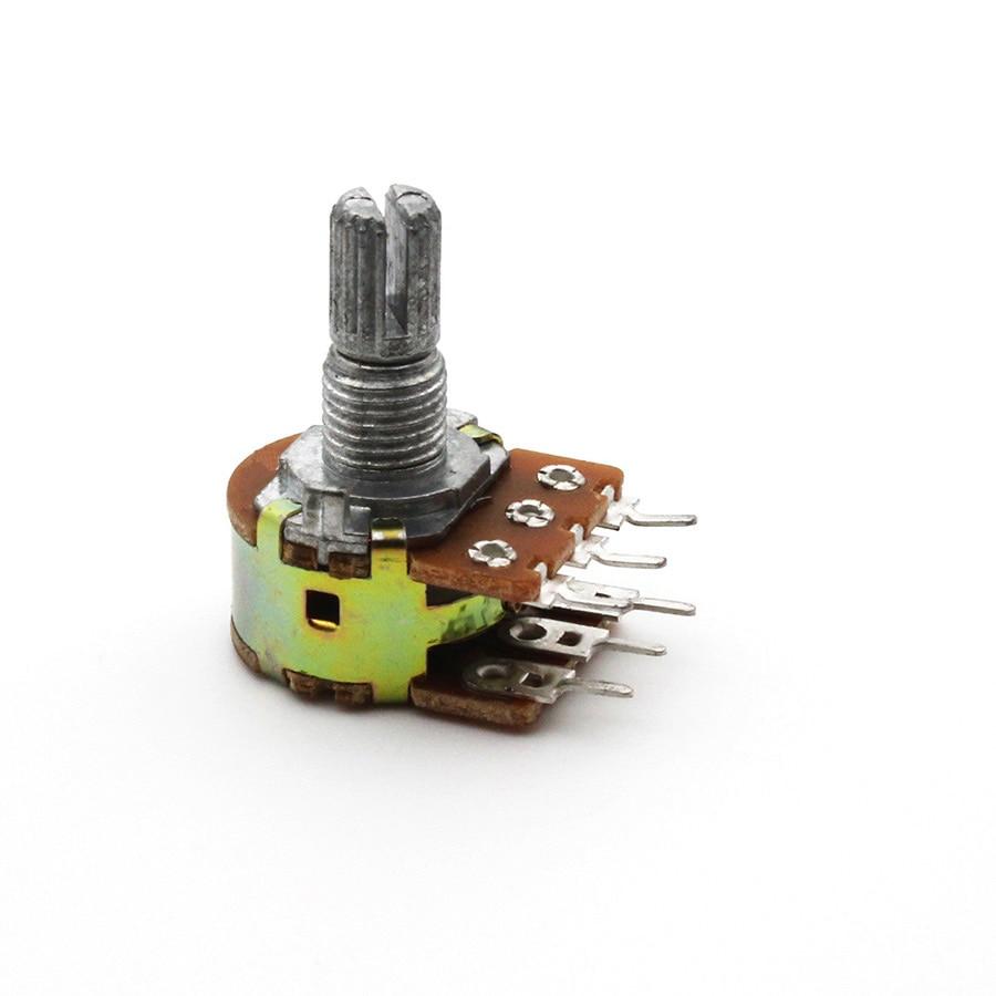 Dual Stereo Potentiometer Pot B50K 50K Ohm R Linear Shaft 15mm 15 Shaft =15 6Pin Shaft WH148 Amplifier