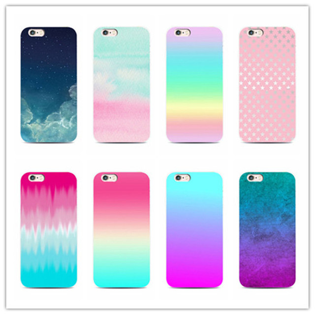 Colorful Gradient Case for Samsung Galaxy S4 S5 S6 S7 edge iPhone 5s E 6 6s 7 plus Cute Sweet Candy Color Phone Cases Back Cover