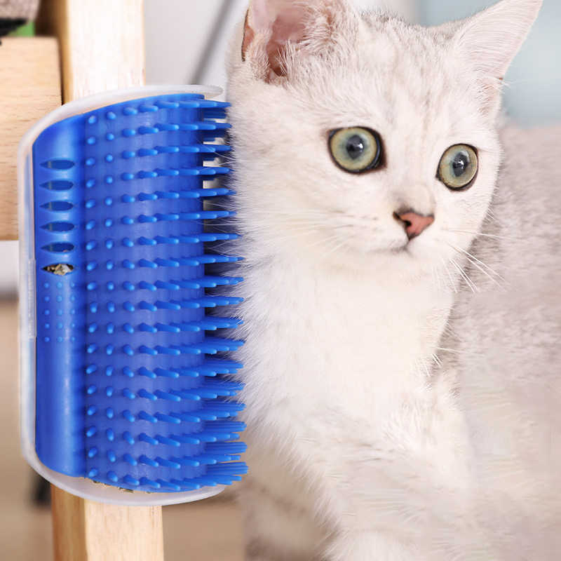 Pet Cat Grooming Tools Hair Removal Brush Comb For Cats Dogs Wall Corner Massager Trimming Device With Catnip Cat Self Groomer