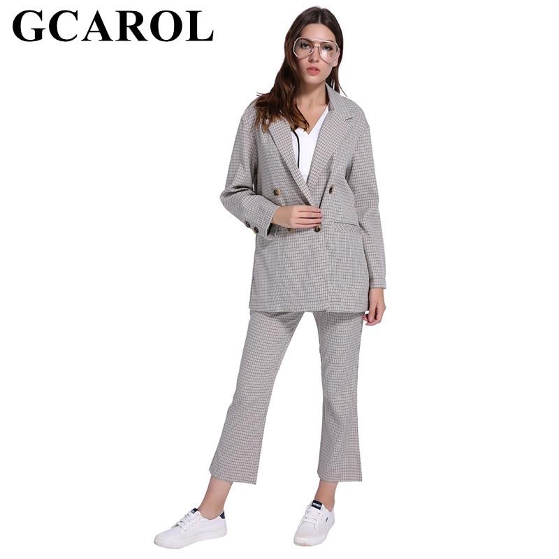 GCAROL 2018 Новая коллекция плед Для женщин комплекты Длинный блейзер и лодыжки Длина брюки OL Двойка комплект наряды для 4 сезона