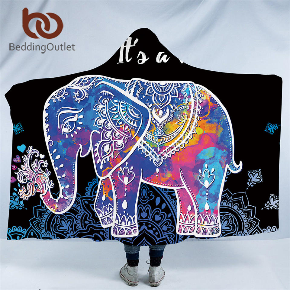 beddingoutlet indian elephant collection hooded blanket for adults sherpa fleece wearable throw. Black Bedroom Furniture Sets. Home Design Ideas