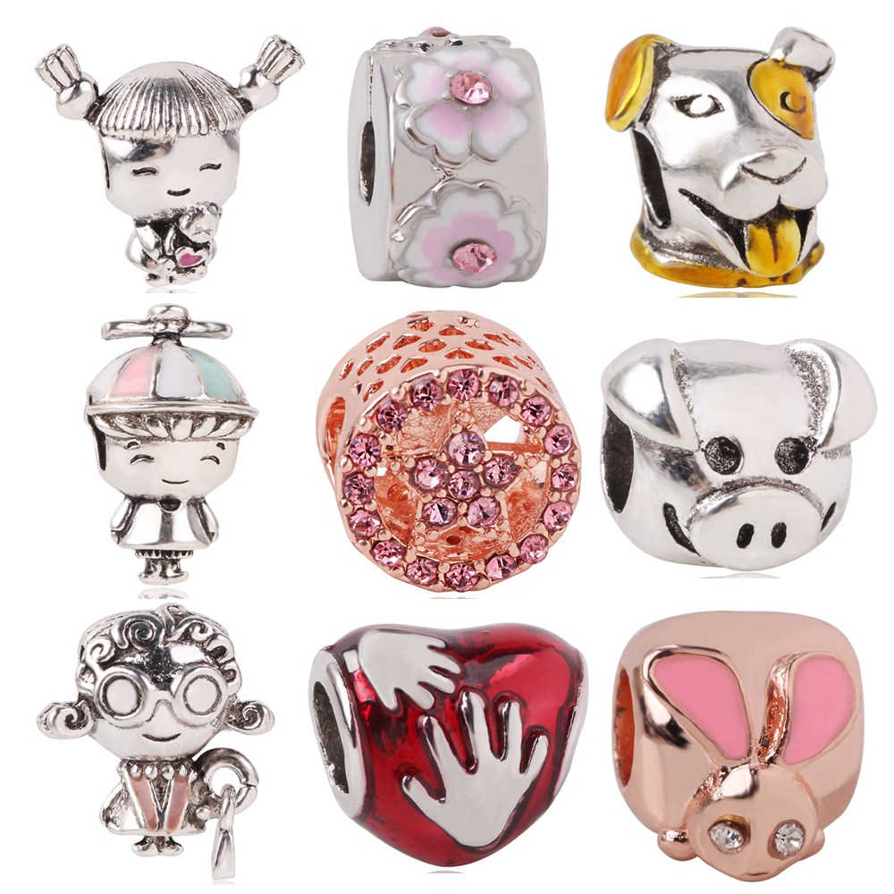 AIFEILI 2019 Mother's Day New 925 Silver Girl with Pigtails Dog Beads Charms Fit Original Pandora Bracelet Clip Jewelry