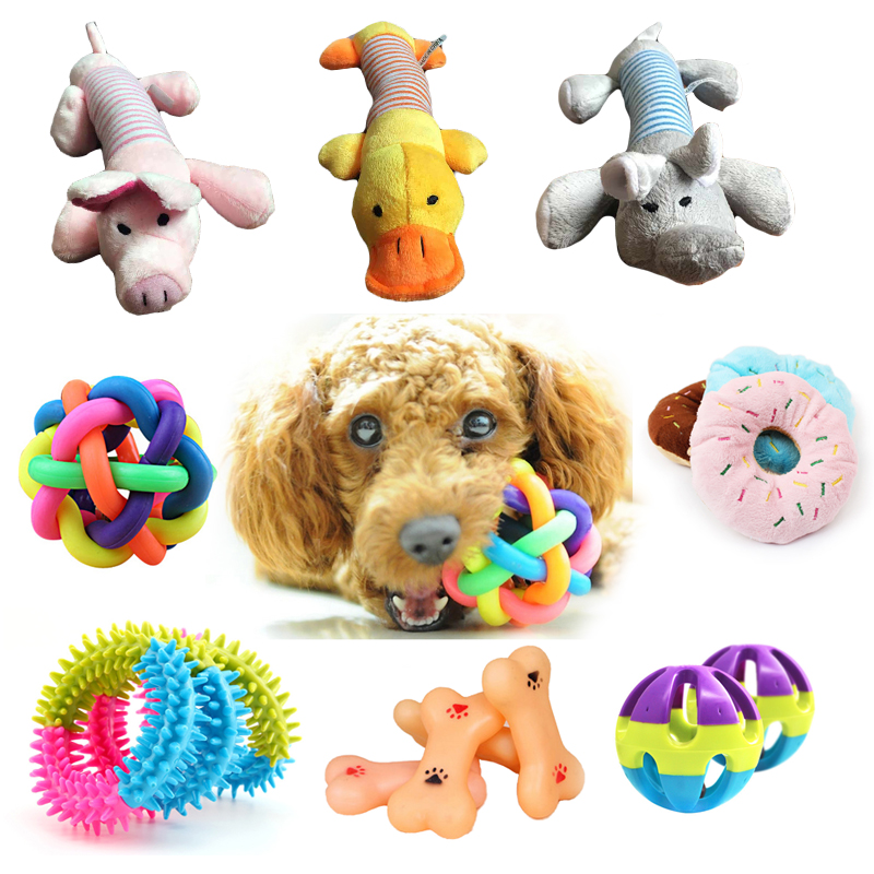 1pcs Popular Animal Puppy Dog Toys for Small Squeak Pet Ball Bell Chew Play For Teeth Training Products
