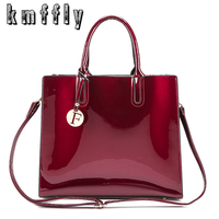 KMFFLY Bright Surface PU Leather Bags Luxury Women Designer Handbags High Quality Brand Solid Shoulder Bag